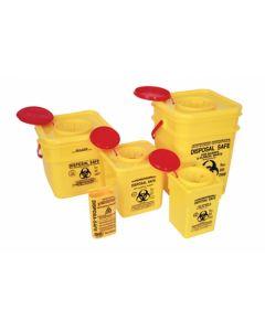 SHC - BIOHAZARD004 - Sharps/Biohazardous Bins With Lids, Plastic Yellow 5l